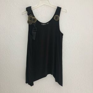 Alive + Olivia Black Tank Top with Floral Detail